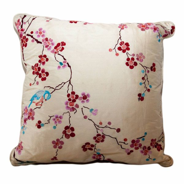 Silk Cherry Blossom Red & Pink Embroidered Cushion