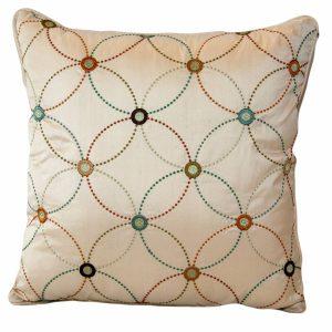 Silk Geometric Circles Cushion with plain back