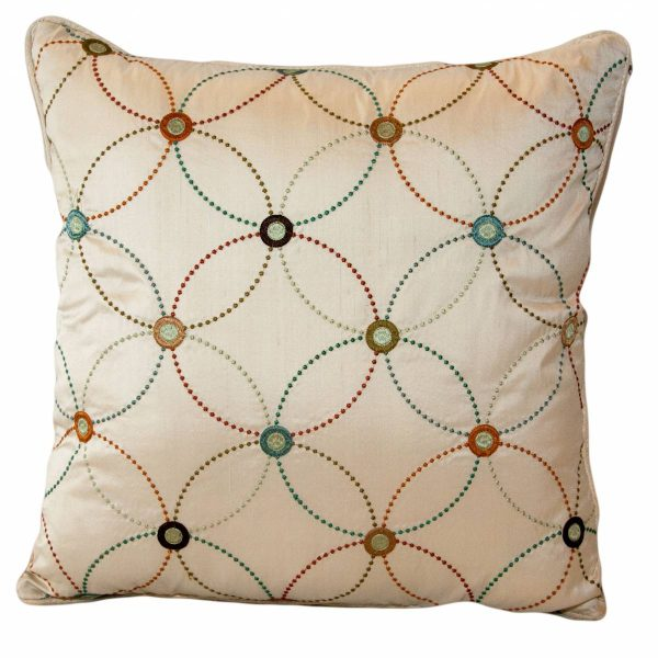 Silk Geometric Circles Cushion with plain back