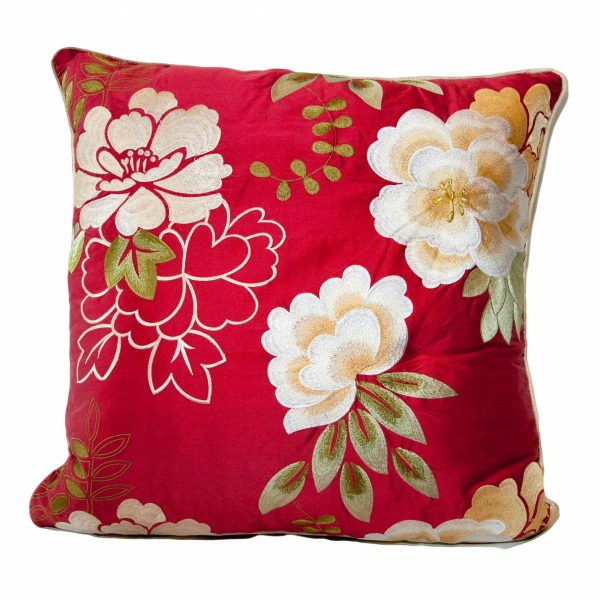 Silk Red Embroidered Cushion with plain back