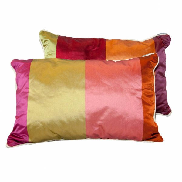 Silk Wide Striped Oblong Cushion Warm Colours