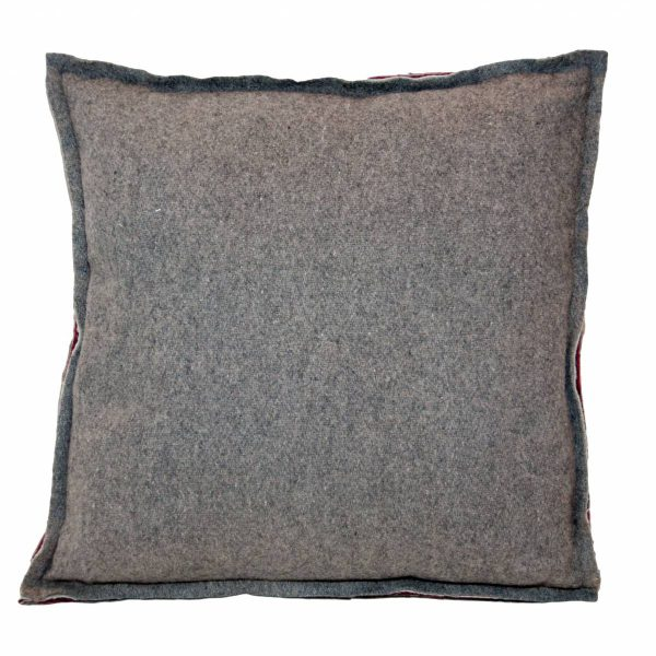 Grey Felt/Wool Cushion with red detail to seams