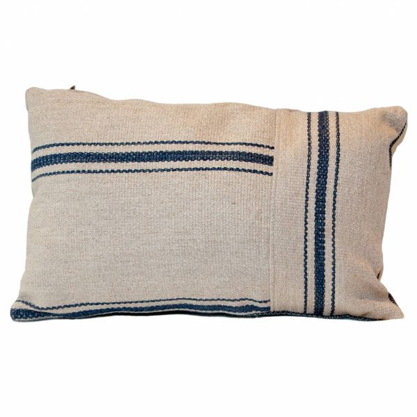 Blue & Grey Striped Oblong Cushion with blue herringbone back