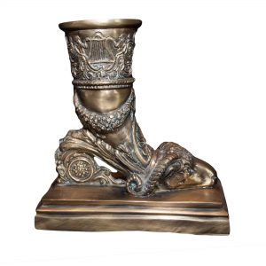 Ornate Brass Ram Vase on Plinth