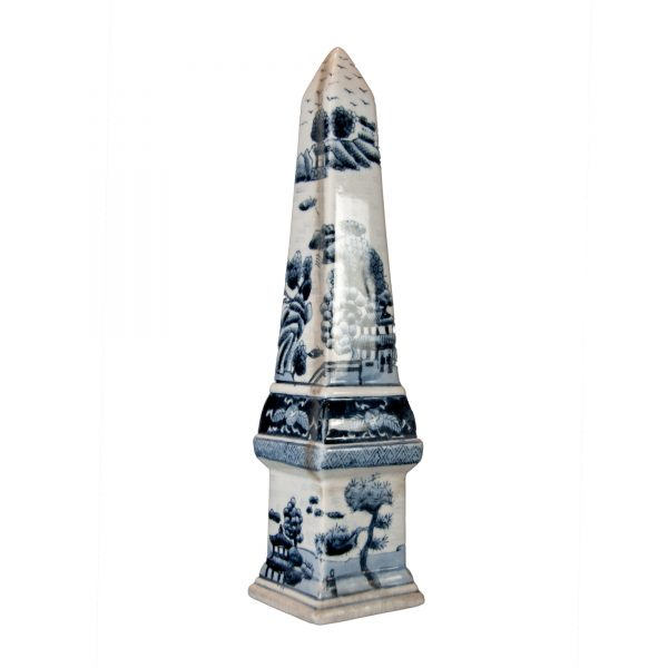 Pair of Blue and White Obelisks