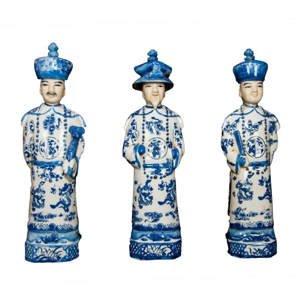 Set of Three Blue and White Porcelain Emperors