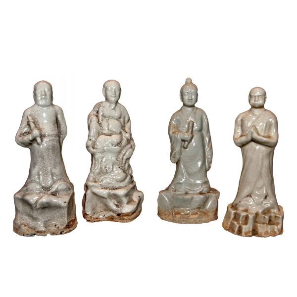 Set of Four White Ceramic Monks