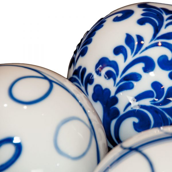 Set of Three Blue and White Patterned Ceramic Balls - Various