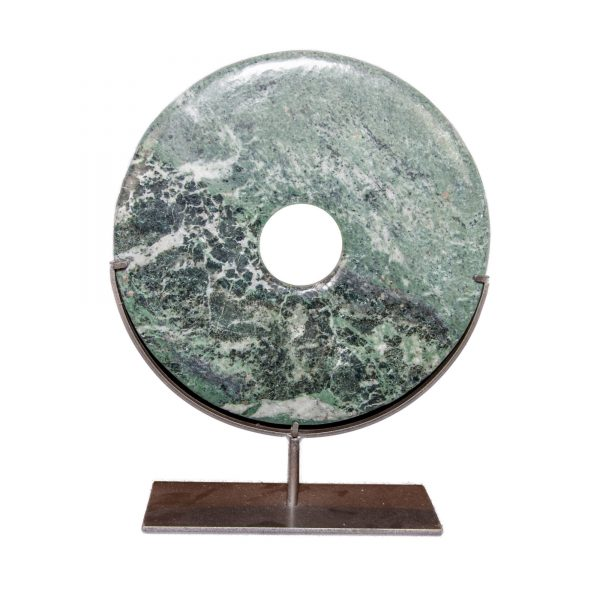 Large Green Stone Disc on Stand