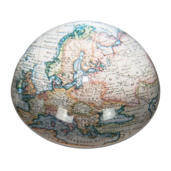 Glass Round Map Paperweight