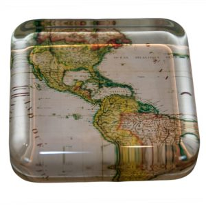 Glass Square Map Paperweight Various