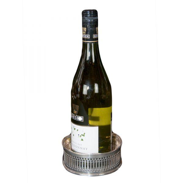 Pierced Silver Plated Wine Bottle Coaster