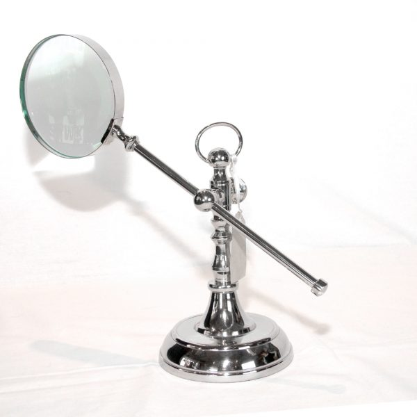 Polished Metal Magnifying Glass on Adjustable Stand