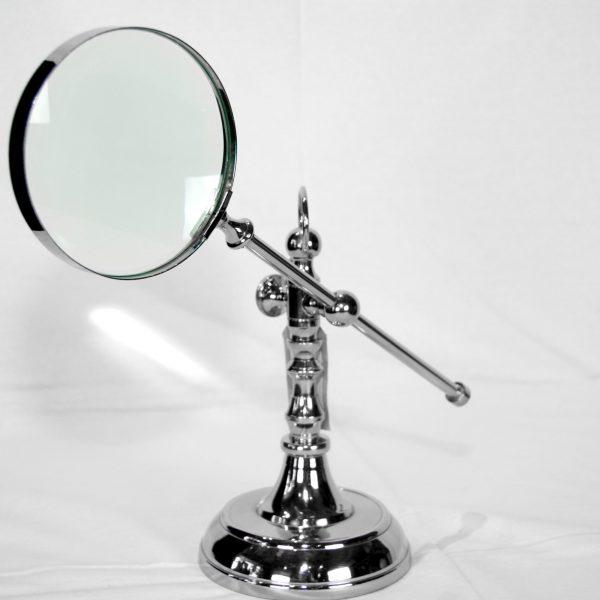 Polished Metal Magnifying Glass on Adjustable Stand