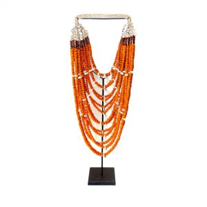 Orange Tribal Shell Necklace on Stand