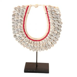 Grey Shell Necklace with Red Detail on Stand
