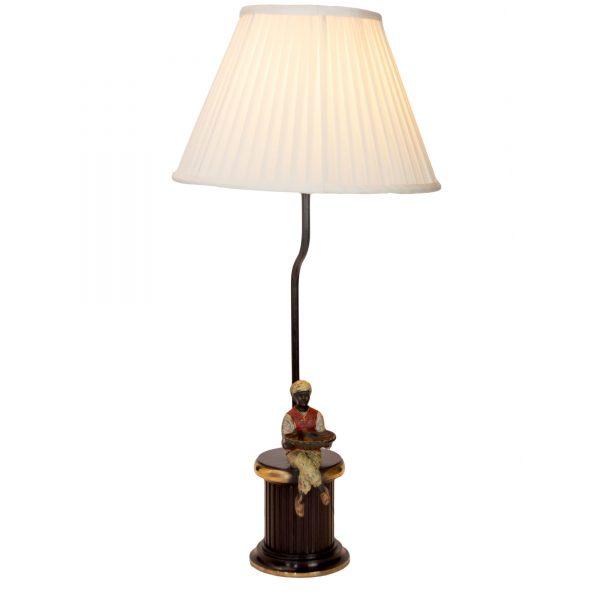 Sitting Man on Brass Base Lamp