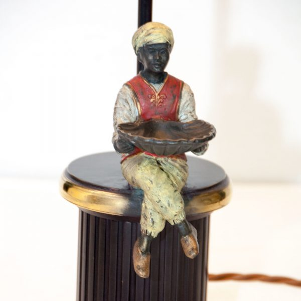 Sitting Man on Brass Base Lamp