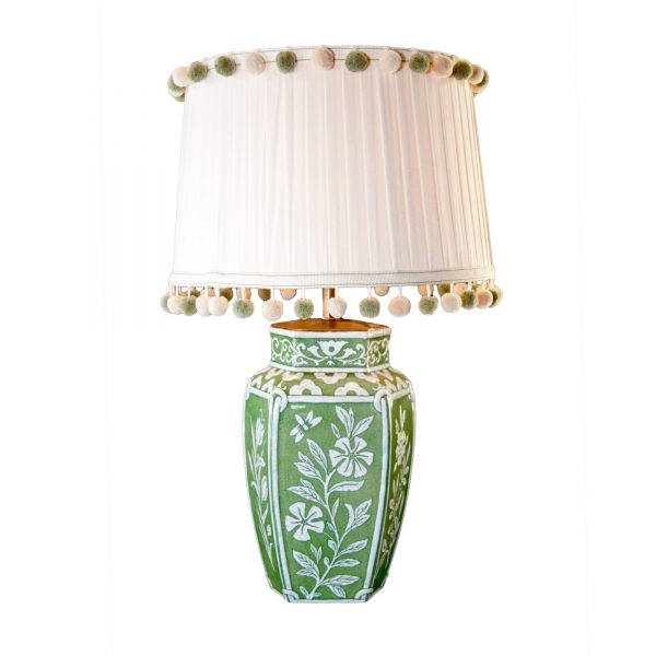 Floral Acid Green Finish Lamp Base