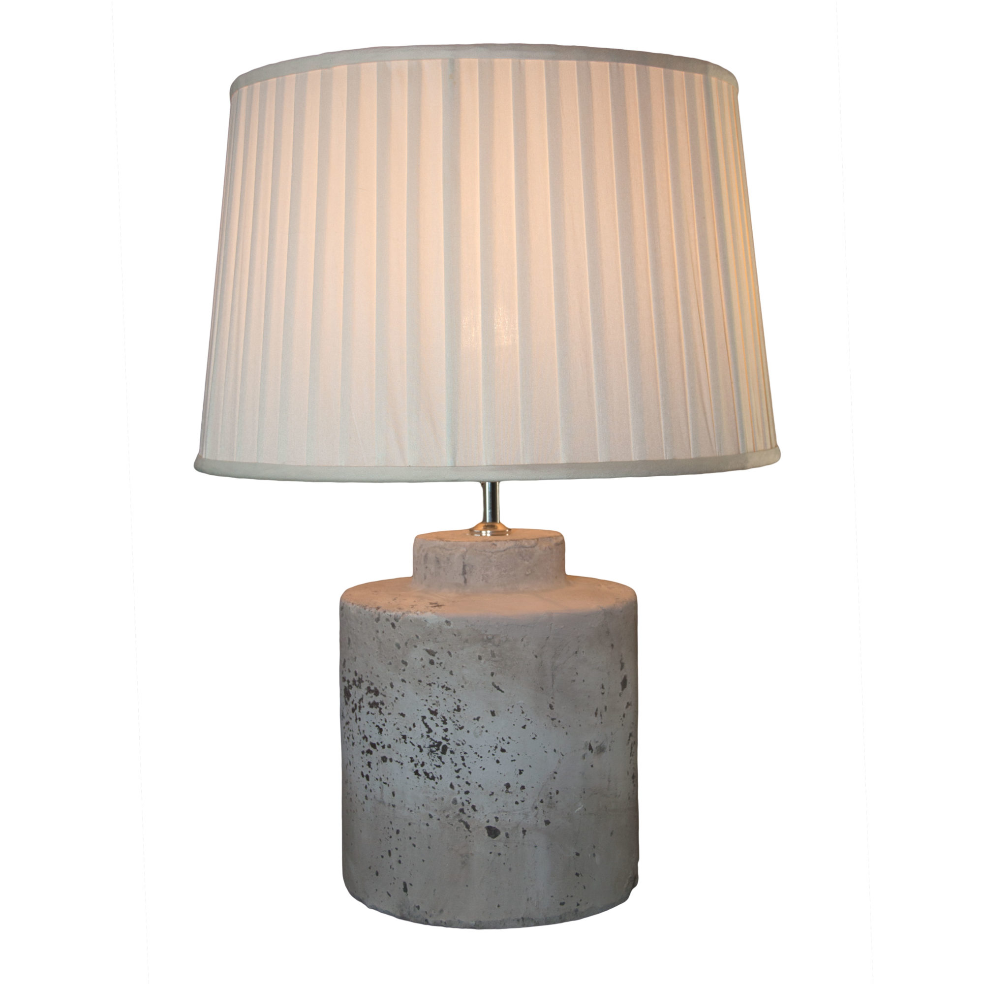Stone effect drum shaped lamp base baker rhodes for Drum shaped lamp shades