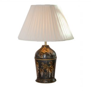 Urn Style Lamp with Brass Handles, Black & Gold Grape Design with Gilt Highlights