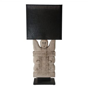 Stone Incan Lamp with Black Oblong Shade