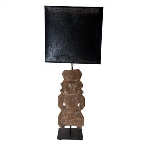 Wooden Incan Lamp with Black Oblong Shade
