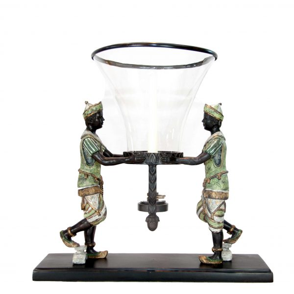 Dua Laki Laki Bronze Men Holding Hurricane Lamp