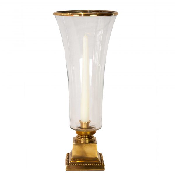 Eyam Brass Hurricane Lamp with Fluted Glass