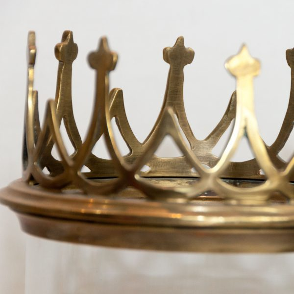 Falkland Brass Hurricane Lamp with Gothic Crown