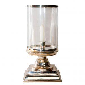 Glamis Silver Hurricane Lamp on Square Base