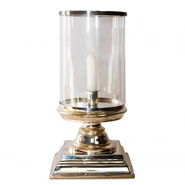 Glamis Silver Hurricane Lamp on Square Base