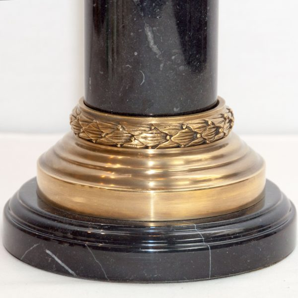 Farnbrough Brass & Black Marble Hurricane Lamp