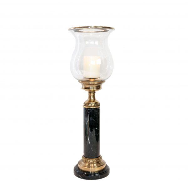 Farnbrough Brass & Black Marble Hurricane Lamp