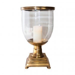 Forde Brass Hurricane Lamp on Square Base