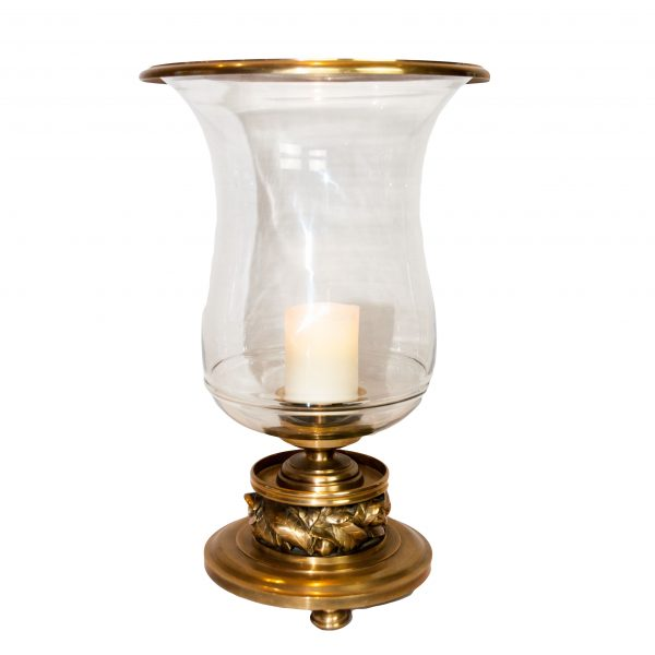 Hambridge Brass Hurricane Lamp with Leaf Detail to Base