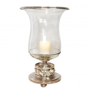 Hambridge Silver Hurricane Lamp with Leaf Detail to Base