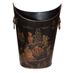 Saddle Topped Waste Bin with Brass Handles, Chinese Design