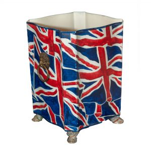 Union Jack Octagonal Waste Bin with Brass Handles & Feet