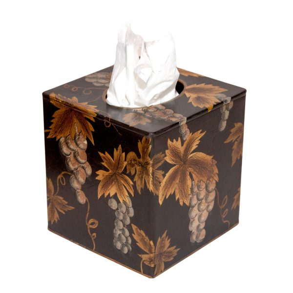 Black & Gold Square Tissue Box