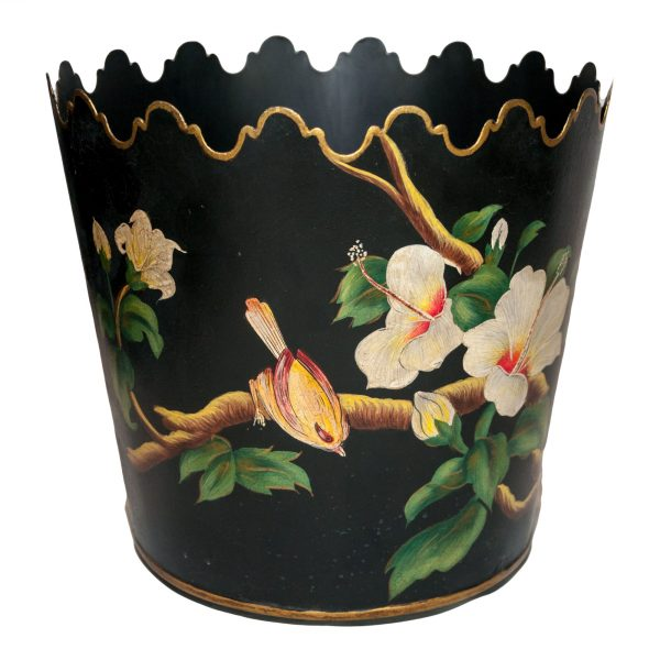 Round Black Scalloped Planter with Bird & Flower Deisgn