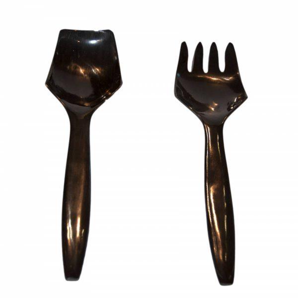 Pair of Black Horn Salad Servers 1