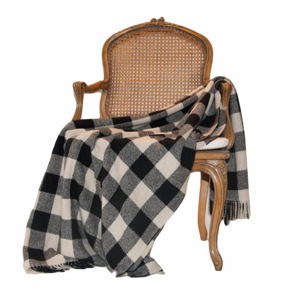 Black & Cream Check Pure Cashmir Throw