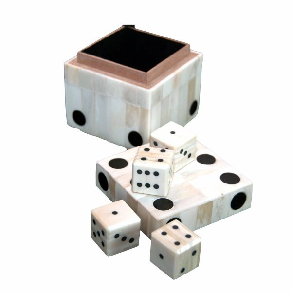 Bone Dice Box with Five Dice