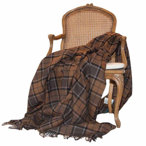 Large Brown Check Pure Wool Throw