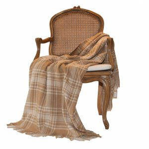 Caramel & Cream Check Pure Cashmir Throw