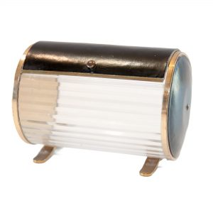Deco Cylindrical Cigarette Box with Brass and Leather Lid and Ends