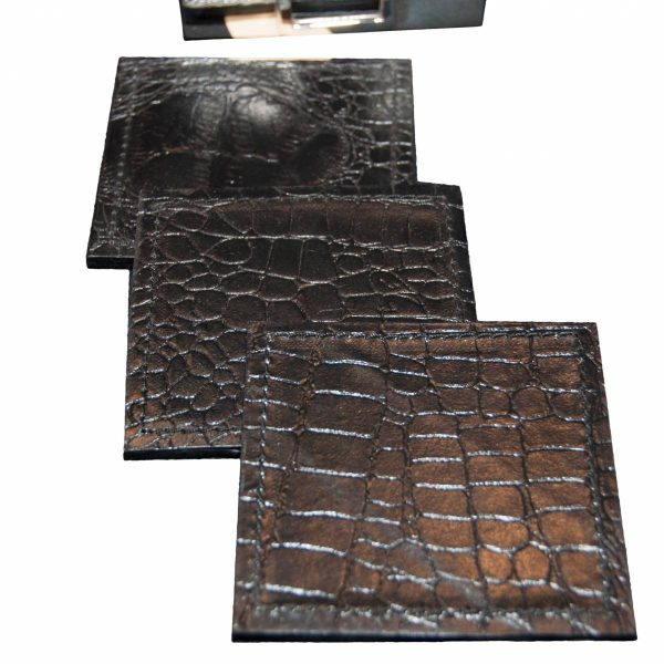 Set of Six Black Faux Croc Coasters in 'Silver' Stand