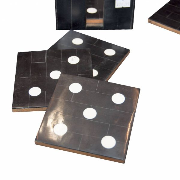 Set of Six Black & White Domino Coasters in Stand