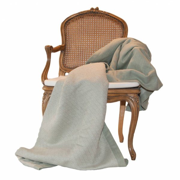 Eau de Nil Wool Diamond Design Throw with plain linen border and back